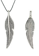 www.sayila.com - Metal pendants feather 72x14mm - D24594