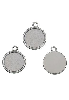 www.sayila.nl - Metalen hangers rond 26x21,5mm met kastje voor 18mm plaksteen