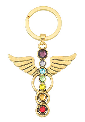 www.sayila.com - Metal key fob Rainbow Chakra angel 78x46mm
