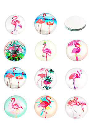 www.sayila.be - Mix glas plakstenen/cabochons rond met flamingo's print 16mm