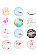 www.sayila.com - Mix glass flat backs/cabochons round with flamingo's print 16mm - D24793