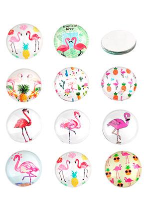 www.sayila.com - Mix glass flat backs/cabochons round with flamingo's print 16mm