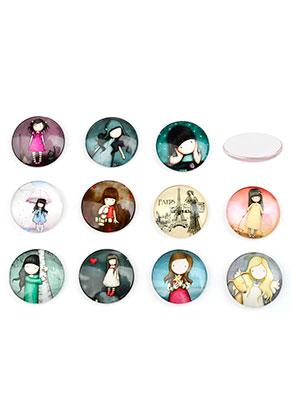 www.sayila.nl - Mix glas plakstenen/cabochons rond met meisje 20mm