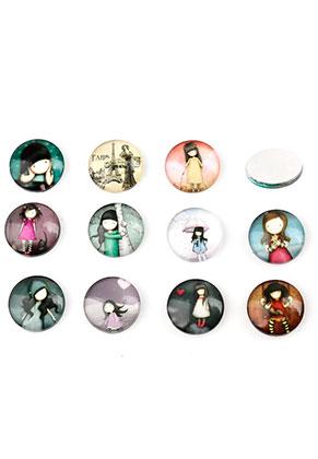 www.sayila.nl - Mix glas plakstenen/cabochons rond met meisje 12mm