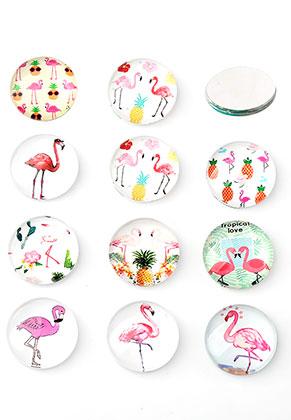 www.sayila.com - Mix glass flat backs/cabochons round with flamingo's print 20mm