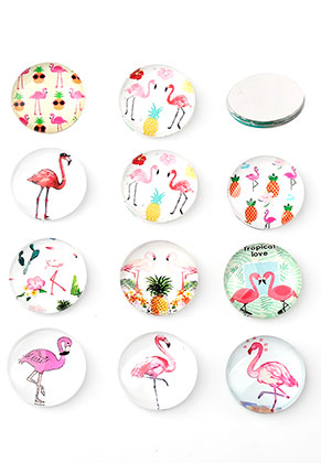 www.sayila.nl - Mix glas plakstenen/cabochons rond met flamingo's print 12mm