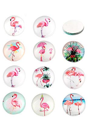 www.sayila.nl - Mix glas plakstenen/cabochons rond met flamingo's print 30mm