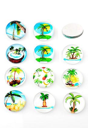 www.sayila.nl - Mix glas plakstenen/cabochons rond met palmbomen print 10mm