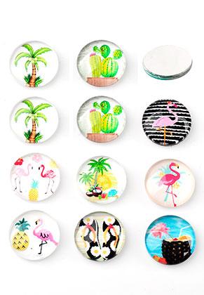 www.sayila.fr - Mélange de cabochons en verre circulaire avec imprimé tropicaux 30mm