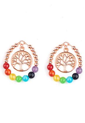 www.sayila.com - Natural stone Rainbow Chakra pendant with metal tree 41x33mm