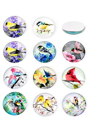 www.sayila.com - Mix glass flat backs/cabochons round with birds 30mm