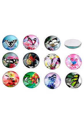 www.sayila.nl - Mix glas plakstenen/cabochons rond met vlinder 30mm
