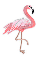 www.sayila-perlen.de - Stoff Patch Flamingo 150x120mm - D25302