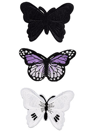www.sayila.com - Mix textile patches butterfly 68-75x47-53mm