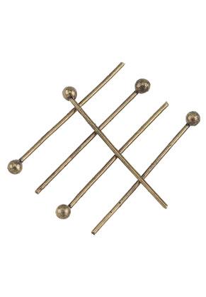 www.sayila.nl - Brass nietstiften met bolletje 20mm (0,6mm dik) (± 65 st.)