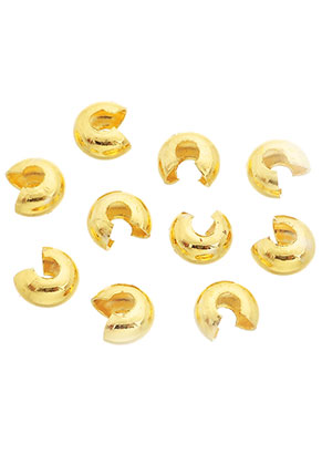 www.sayila.fr - Perles/pinces en brass 6x4mm, pour 'cacher' des perles à écraser (± 25 pcs.)