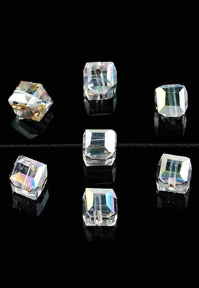 www.sayila.nl - Glaskralen kristal kubus facet geslepen 6mm