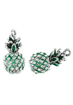 www.sayila.fr - Pendentifs en métal 3D ananas avec strass 25x12mm