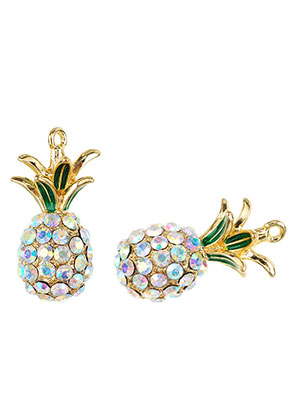 www.sayila.com - Metal pendants 3D pineapple with strass 31,5x16mm