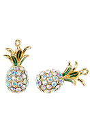 www.sayila.be - Metalen hangers 3D ananas met strass 31,5x16mm - D26400