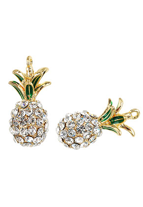 www.sayila.com - Metal pendants 3D pineapple with strass 31,5x16mm