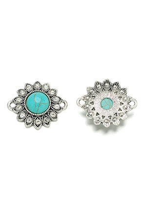 www.sayila.co.uk - Metal connectors flower with natural stone Turquoise Howlite 27x23mm