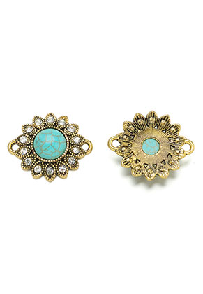 www.sayila-perles.be - Entre-deux en métal fleur avec pierre fine Turquoise Howlite 27x23mm