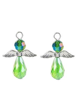 www.sayila.be - Metalen en glas hangers engel 32x23,5mm