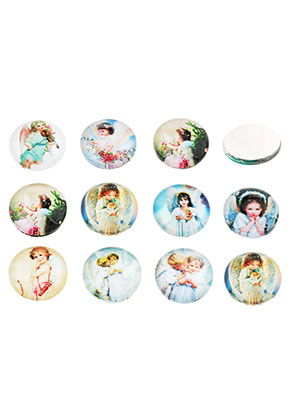 www.sayila.com - Mix glass flat backs/cabochons round with angel 12mm