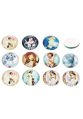 www.sayila.com - Mix glass flat backs/cabochons round with angel 18mm