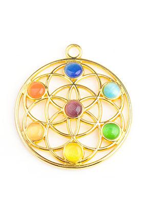 www.sayila.com - Metal Rainbow Chakra pendant flower of life with cateye 40x35mm