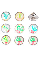 www.sayila.be - Mix revers pinnen met cactus print 18x16mm - D26894