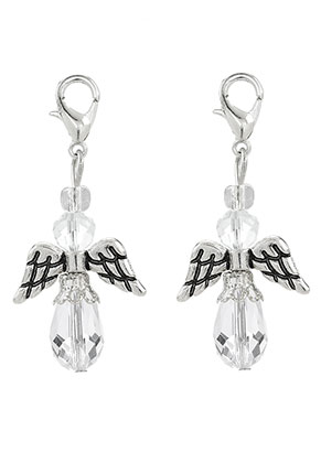 www.sayila.com - Metal and glass pendants angel with clasp 40x19mm