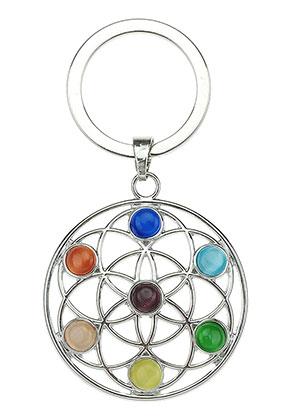 www.sayila.com - Metal key fob Rainbow Chakra flower of life 66x35mm
