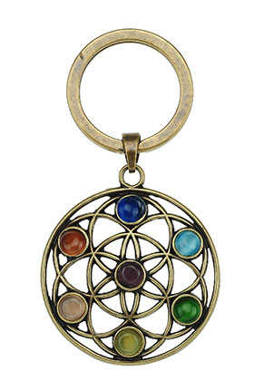 www.sayila.com - Metal key fob Rainbow Chakra flower of life 66x35mm