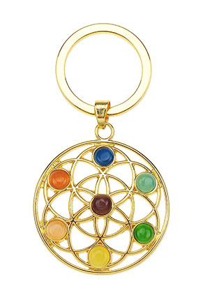 www.sayila.fr - Porte-clés en métal Rainbow Chakra fleur de vie 66x35mm