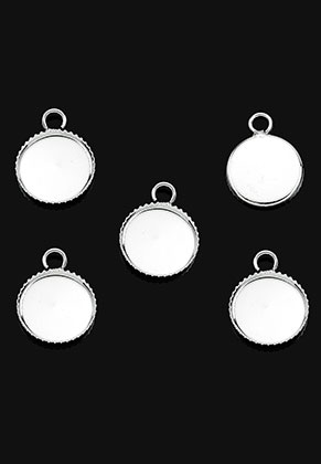 www.sayila.fr - Pendentifs/breloques en métal circulaire 15x11mm avec cadre pour 10mm cabochon
