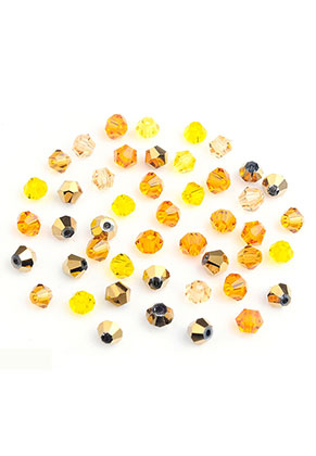 www.sayila.nl - Mix glaskralen kristal konisch 4x3,5mm