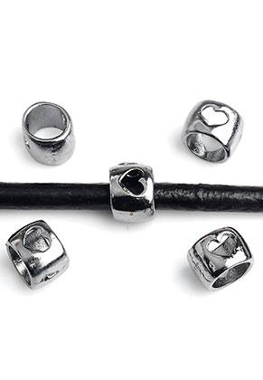 www.sayila.nl - Groot-gat-style metalen kralen met hartjes 8x6mm