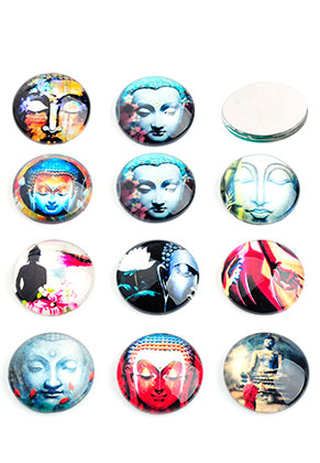 www.sayila.com - Mix glass flat backs/cabochons round with Buddha 18mm