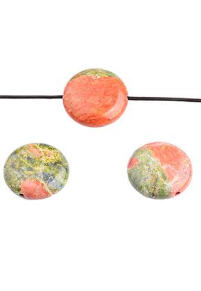 www.sayila.es - Abalorios de piedra natural Unakite plano redondo 16mm