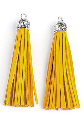 www.sayila.es - Borlas de cuero artificial con tapa de metal 90x13mm