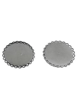 www.sayila.nl - Metalen hangers/tussenzetsels rond 33,5mm met kastje voor 30mm plaksteen