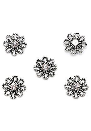 www.sayila.com - Metal pendants/connectors flower with strass 14x13mm