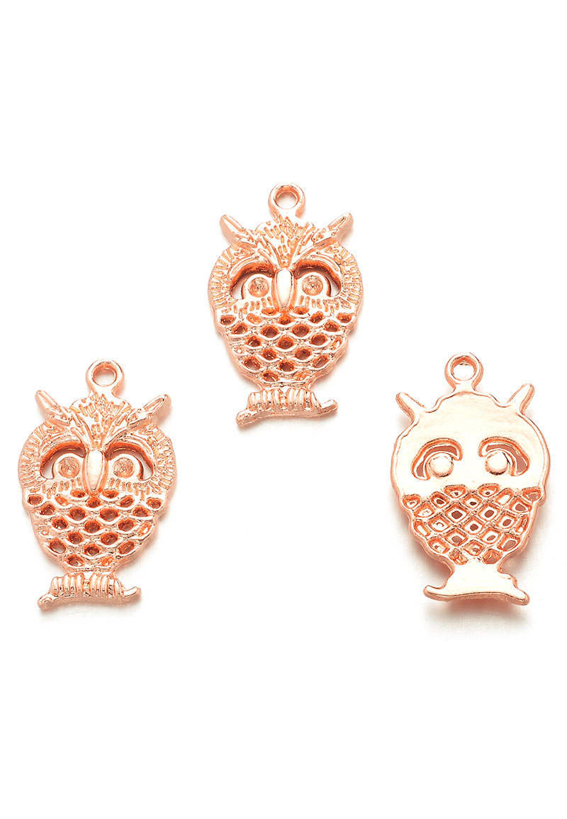 Metal Pendants Owl 25x15mm With Settings For 2mm Pointed Back