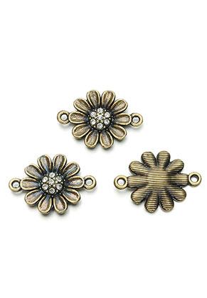 www.sayila-perlen.de - Metall Zwischenstücke Blume mit Strass 23,5x17mm