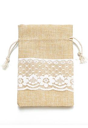 www.sayila.es - Bolsa de textil para regalos con encaje 17,5x13cm