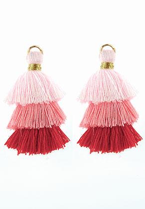 www.sayila.fr - Pendentifs en textile avec pompons 35x20mm