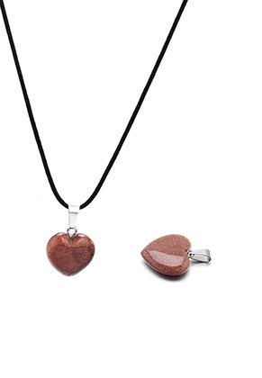 www.sayila.com - Natural stone pendant Brown Sandstone heart 23x16mm