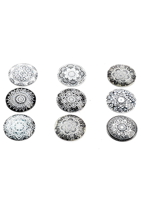 www.sayila.com - Mix glass flat backs/cabochons round with mandala print 25mm